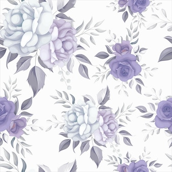Lindo padrão floral sem costura com flores roxas