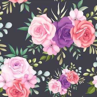 Lindo padrão floral sem costura com lindas flores