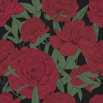 Lindo padrão floral sem costura com peônias vinosas e folhas verdes