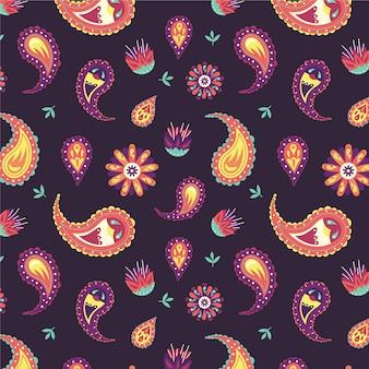 Lindo padrão paisley com elementos coloridos