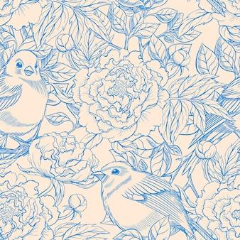 Lindo padrão retro sem costura azul e bege com pássaros e peônias florescendo