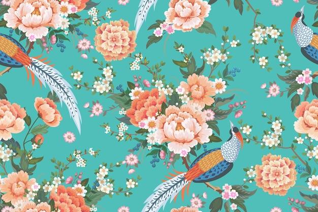 Lindo padrão sem emenda com faisão para vestido de verão em estilo chinês