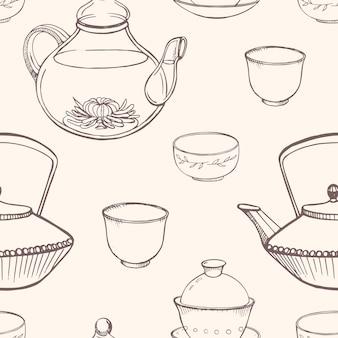 Lindo padrão sem emenda com ferramentas tradicionais para cerimônia do chá asiática