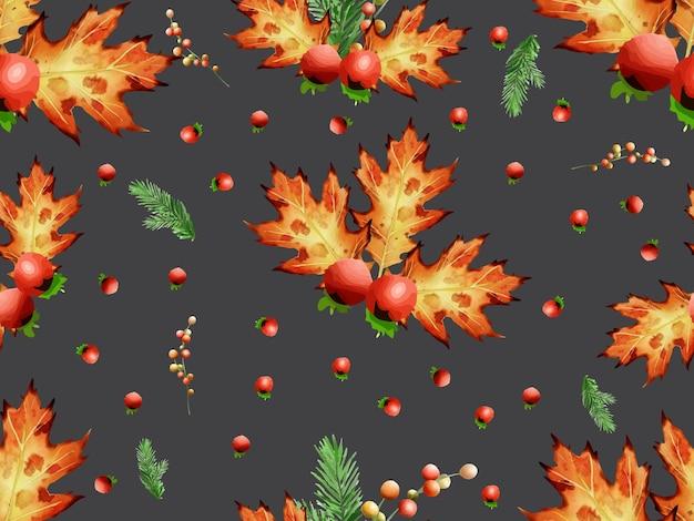 Lindo padrão sem emenda com flores e enfeites de natal