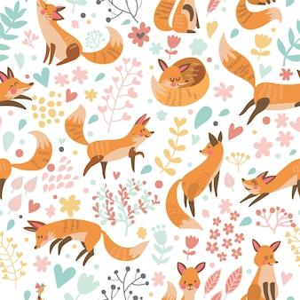 Lindo padrão sem emenda com lindas raposas e flores