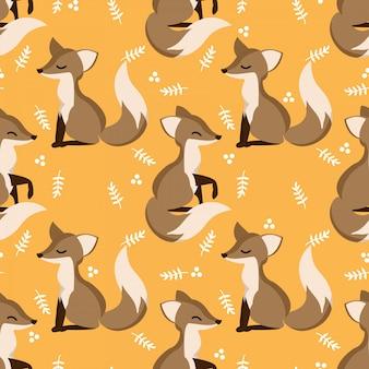 Lindo padrão sem emenda com raposas bonitinha e folhas.