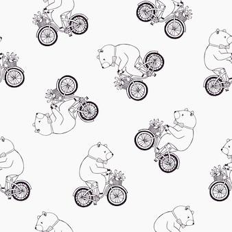 Lindo padrão sem emenda com urso engraçado dos desenhos animados, vestindo gravata pontilhada e andar de bicicleta com cesto cheio de flores tulipa.