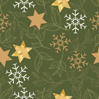Lindo padrão sem emenda de natal com folhas de ouro e enfeite de natal