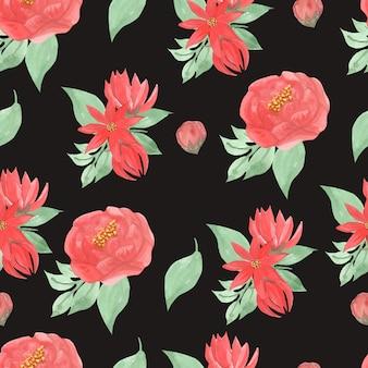 Lindo padrão sem emenda floral vermelho aquarela
