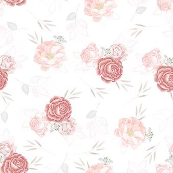 Lindo padrão sem emenda lindo flores e folhas