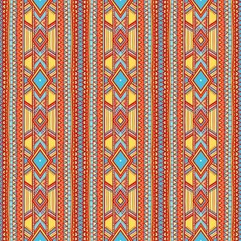 Lindo padrão tribal listrado vertical com pontos e triângulos