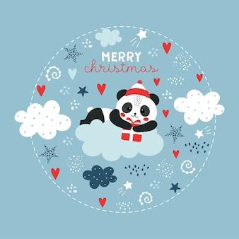 Lindo panda de natal na nuvem.