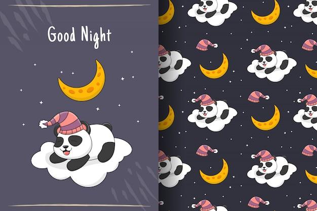 Lindo panda dormindo no cartão e no padrão sem emenda da nuvem