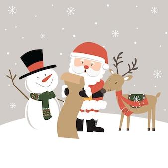 Lindo papai noel, boneco de neve e renas lendo a lista de presentes de natal, ilustração