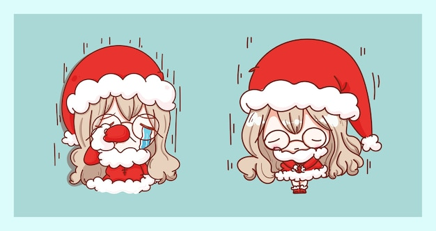 Lindo papai noel chorando e triste isolado em fundo de feliz natal com design de personagens.