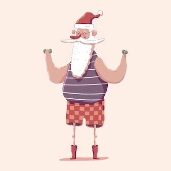 Lindo papai noel com halteres, fazendo o personagem de exercícios de fitness isolado no fundo.