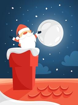 Lindo papai noel com roupas vermelhas acenando da chaminé. comemoração de feliz natal e ano novo. céu noturno e lua no fundo. ilustração lat