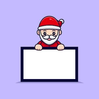 Lindo papai noel segurando uma ilustração dos desenhos animados da mascote da placa do texto em branco.