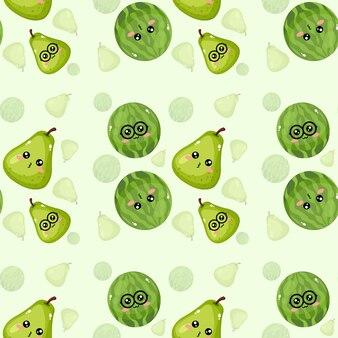 Lindo papel de parede criativo emoticon melancia e padrão de pera
