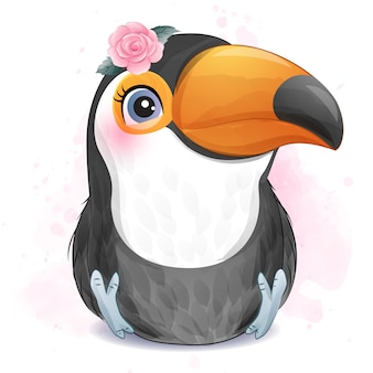 Lindo passarinho amor com ilustração em aquarela