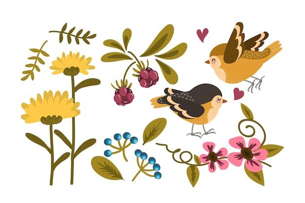 Lindo pássaro e coleção de flores.