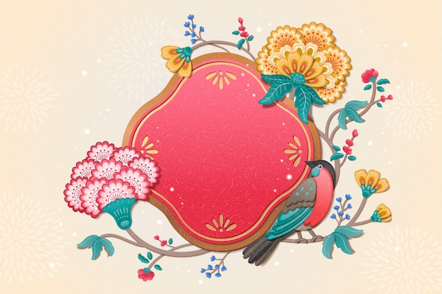 Lindo pássaro e flor pintando design de ano novo em estilo argila