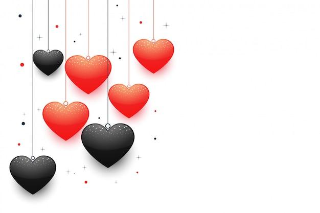 Lindo pendurado corações de dia dos namorados com espaço de texto