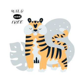 Lindo pequeno tigre na selva