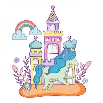 Lindo pequeno unicórnio com castelo e arco-íris