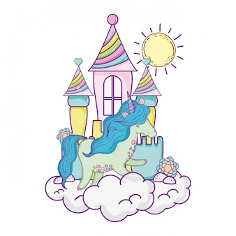 Lindo pequeno unicórnio com castelo nas nuvens