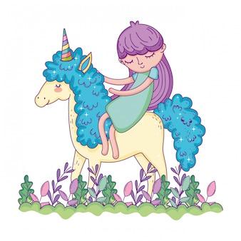 Lindo pequeno unicórnio com princesa na paisagem