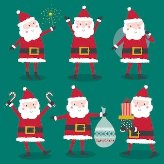 Lindo personagem coleção de papai noel, natal conjunto de caracteres de papai noel, desenhos animados