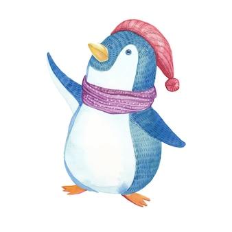 Lindo pinguim de natal com chapéu e cachecol em aquarela