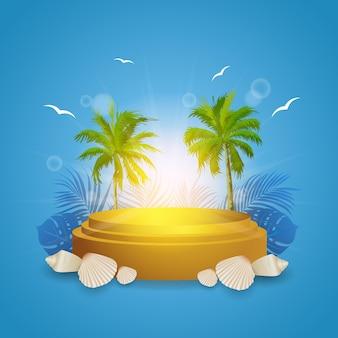 Lindo pódio de verão com coqueiros e luz do sol, fundo