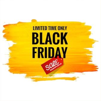 Lindo pôster preto de venda sexta-feira para fundo aquarela pincel laranja