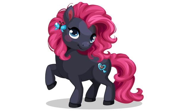 Lindo preto colorido pequeno pônei com ilustração vetorial de penteado rosa