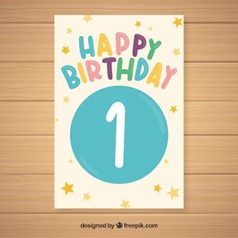 Lindo primeiro design de cartão de aniversário