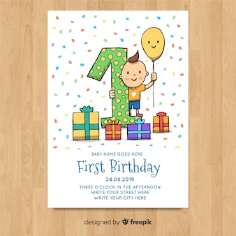 Lindo primeiro modelo de cartão de aniversário