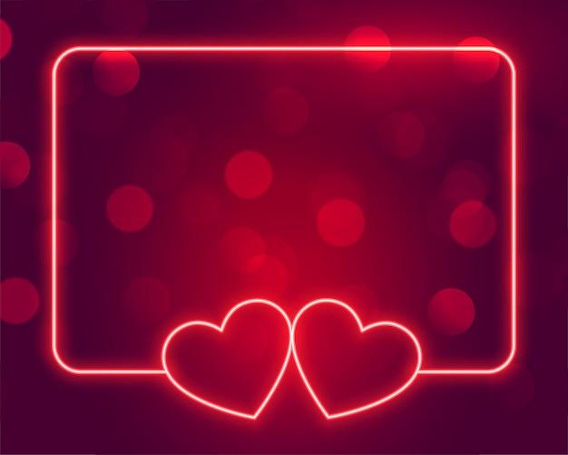 Lindo quadro de corações de néon com espaço de texto