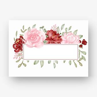 Lindo quadro de flores com aquarela