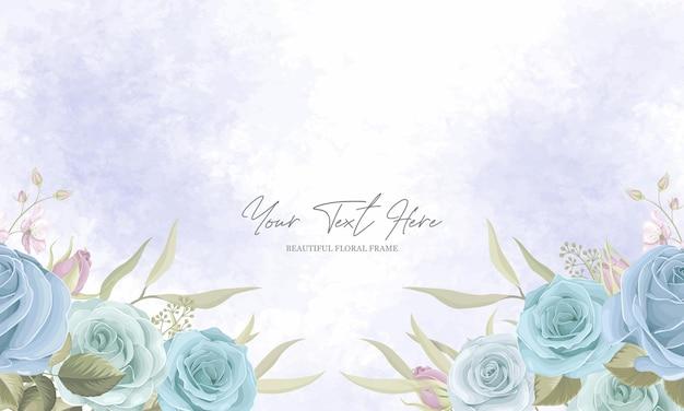 Lindo quadro de flores com decoração de rosa azul
