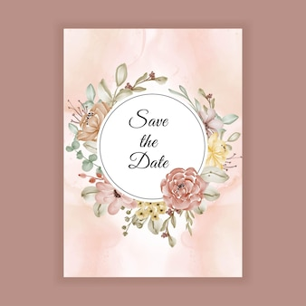 Lindo quadro de flores em aquarela com espaço para convite de casamento