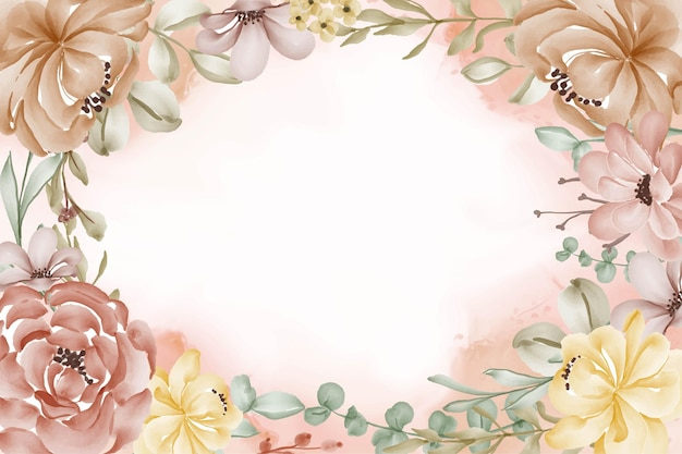 Lindo quadro decorativo de flores em aquarela