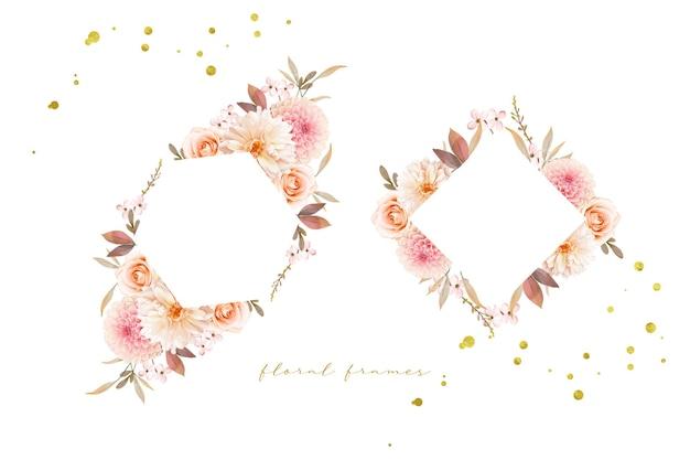 Lindo quadro floral com aquarela dálias e rosa