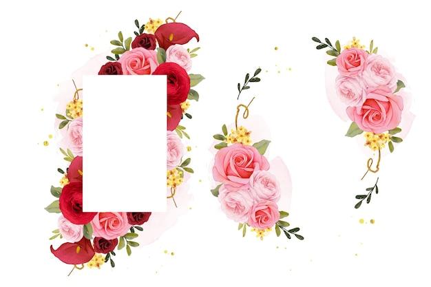 Lindo quadro floral com aquarela rosa lírio e flor de ranúnculo