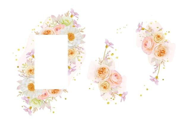 Lindo quadro floral com aquarela rosa peônia e flor de ranúnculo