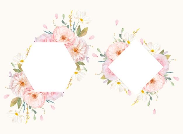 Lindo quadro floral com aquarela rosas e dália