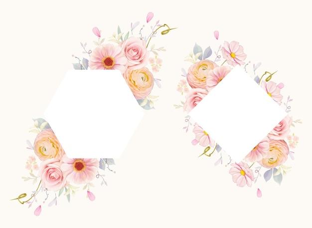 Lindo quadro floral com aquarela rosas e flor de ranúnculo