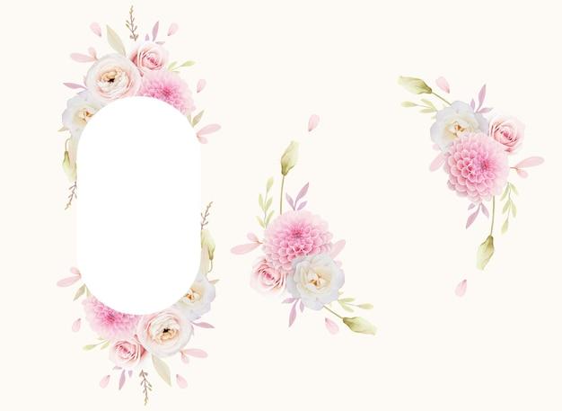 Lindo quadro floral com aquarela rosas ranúnculo e dália