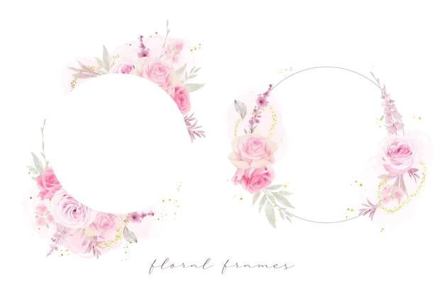 Lindo quadro floral com aquarela rosas